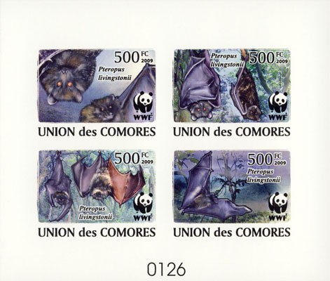 WWF Bats De Luxe sheet with 4v - Issue of Comoros postage stamps