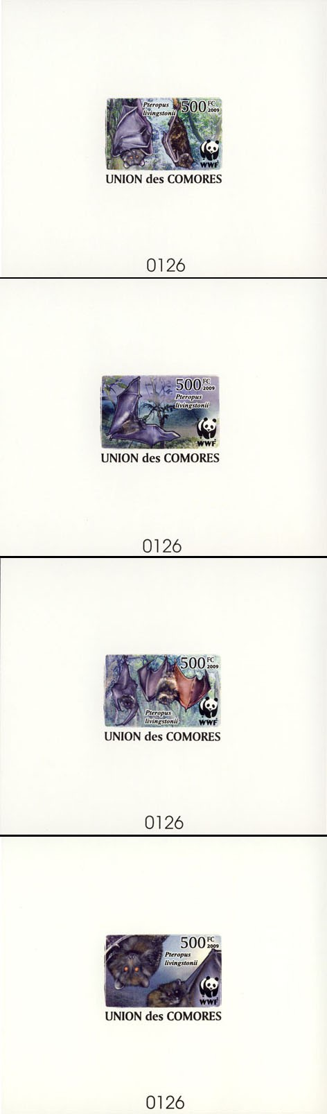 WWF Bats De Luxe of 4 separate sheets - Issue of Comoros postage stamps