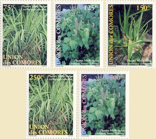 Medicine plants - Issue of Comoros postage stamps