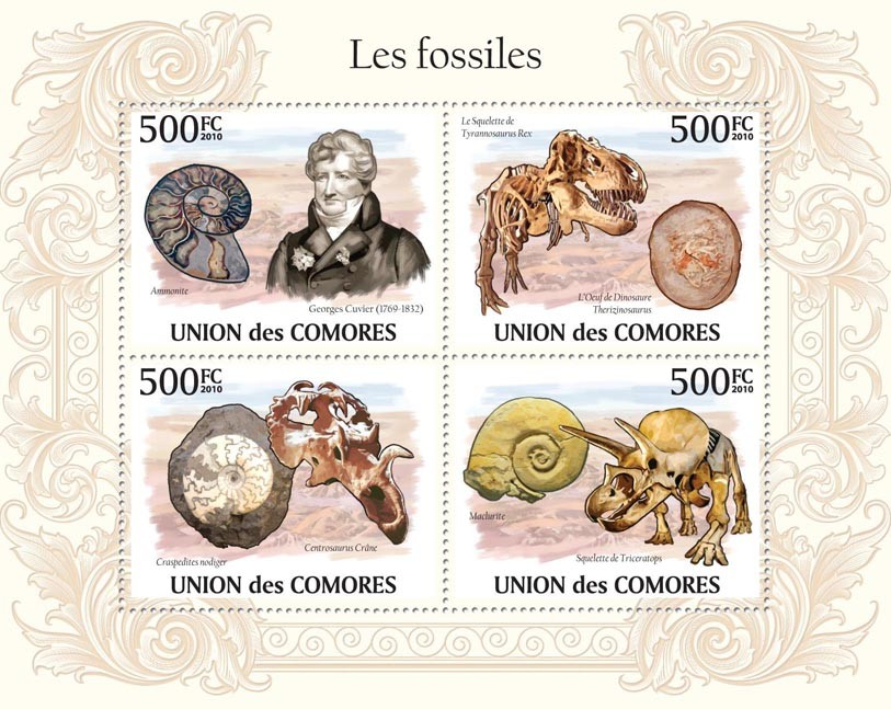 Fossils, G.Cuvier ( 1769-1832), Skeletons of Dinosaurs. - Issue of Comoros postage stamps