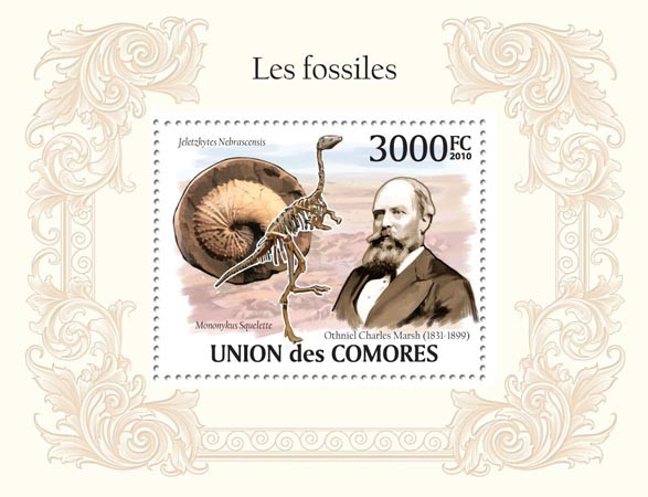 Fossils, O. Charles Marsh ( 1831-1899) Skeleton of Dinosaur - Issue of Comoros postage stamps