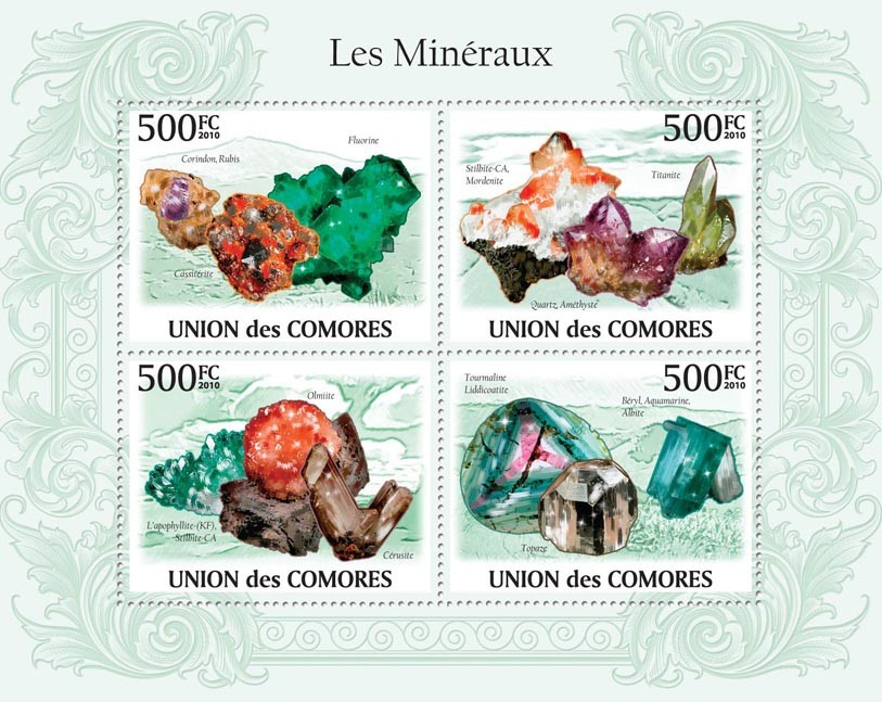 Minerals, Fluorine, Corindon, Rubis, Titanite, Olmiite, Topaze, Stiblite CA, etc - Issue of Comoros postage stamps