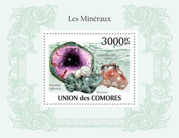 Minerals, Tourmaline Liddicoatite, etc - Issue of Comoros postage stamps