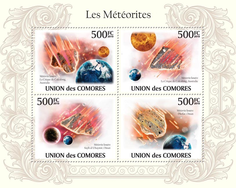 Meteorites in Australia & Oman - Issue of Comoros postage stamps