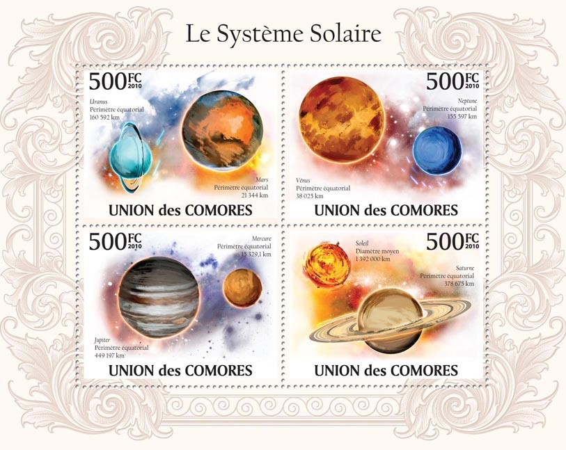 The Solar System, Uranus, Mars, Neptune, Jupiter, Saturne, Mercure, Venus, etc - Issue of Comoros postage stamps