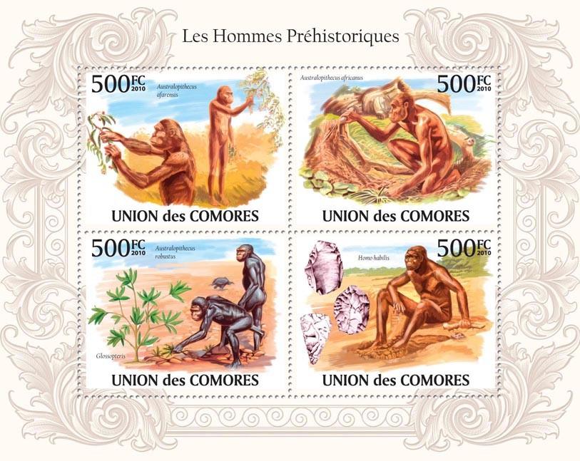 Prehistoric Man, Australopithecus afarensis, africanus, robustus, Homo habilis - Issue of Comoros postage stamps