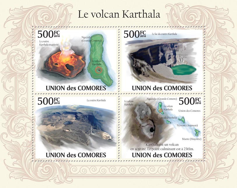 Karthala Volcano, Craters - Issue of Comoros postage stamps