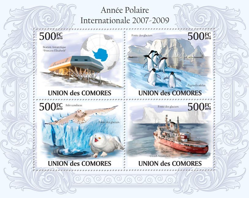 International Polar Year 2007  2009,Station Antarctic, Penguins, Owls, Polar Ship - Issue of Comoros postage stamps