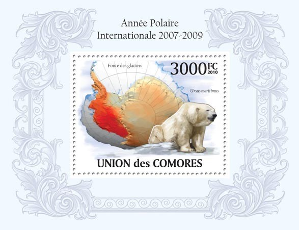 International Polar Year 2007  2009,Polar Bear  Ursus maritimus - Issue of Comoros postage stamps