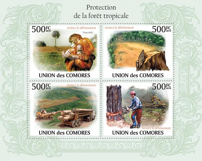 Protection of Tropic Forests, (Monkeys (Pongo abelii), Deforestation) - Issue of Comoros postage stamps