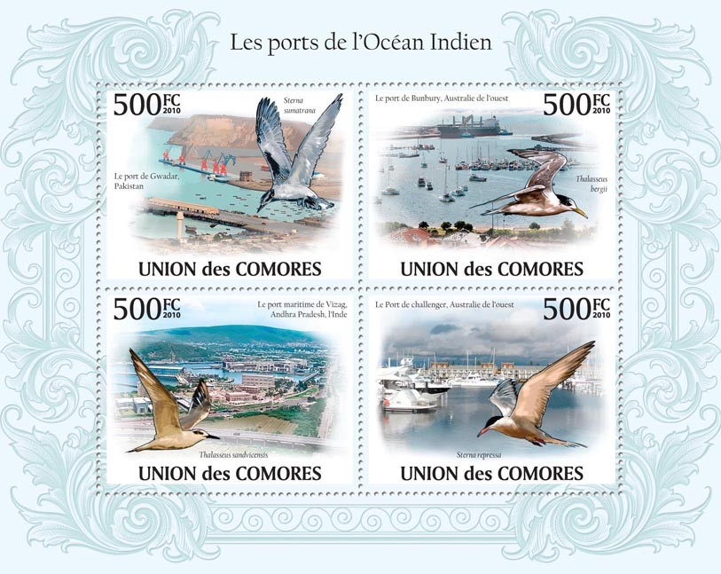 Ports of Indian Ocean,  (Ports of Pakistan, Australia, India, Sea Birds) - Issue of Comoros postage stamps