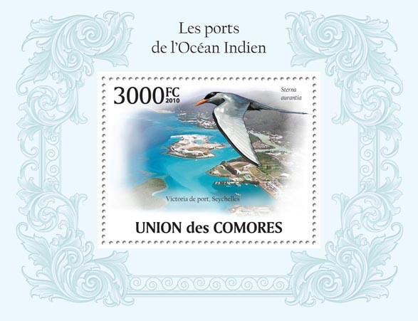 Ports of Indian Ocean,  (Port of Seychelles, Sea Bird) - Issue of Comoros postage stamps