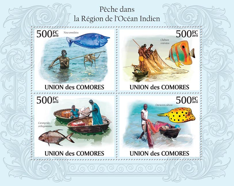 Fishing in Region of Indian Ocean. - Issue of Comoros postage stamps