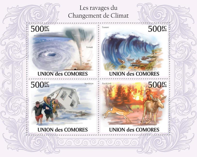 The Ravages of Climate Change, Tornado, (Tsunami, Floods, Forest Fire). - Issue of Comoros postage stamps