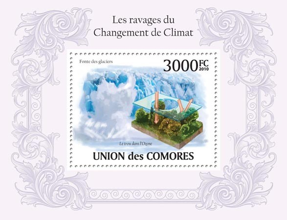 The Ravages of Climate Change,  (The hole in ozone) - Issue of Comoros postage stamps