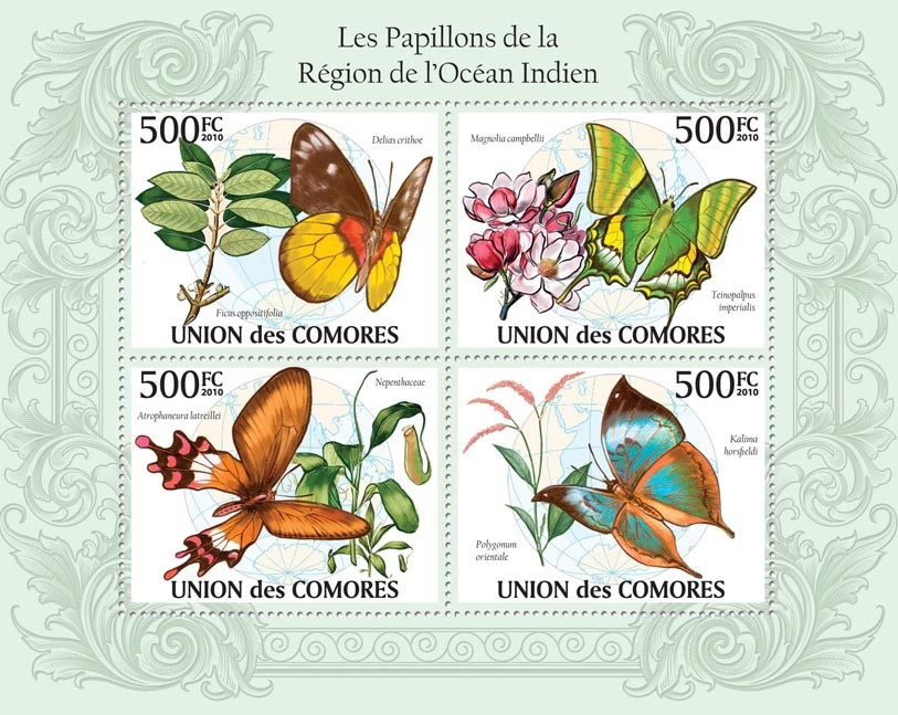 Butterflies in Region of Indian Ocean,   (Delias crithoe, Teinopalpus imperialis, etc.) - Issue of Comoros postage stamps