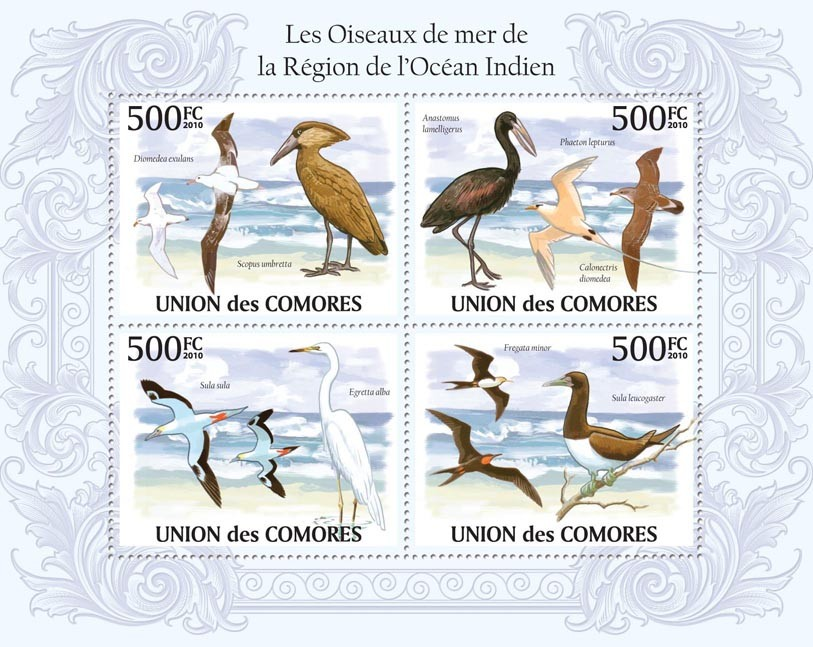 Birds in Region of Indian Ocean, (Diomedea exulans, Sula sula, Fregata minor, etc.) - Issue of Comoros postage stamps
