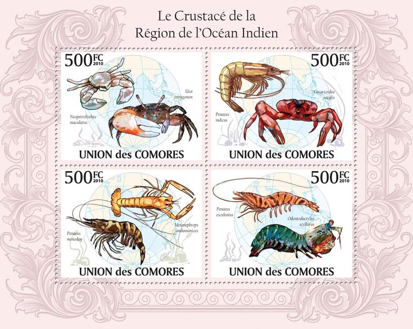 Crustacean in Region of Indian Ocean, Crabs & Crayfishes. - Issue of Comoros postage stamps