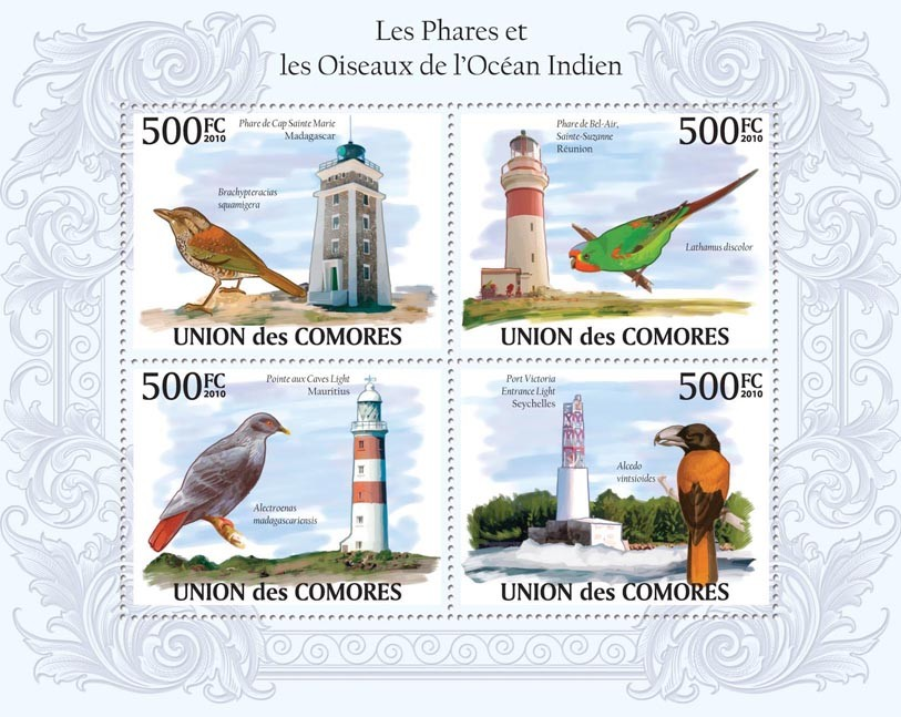 Lighthouses & Birds in Region of Indian Ocean. - Issue of Comoros postage stamps