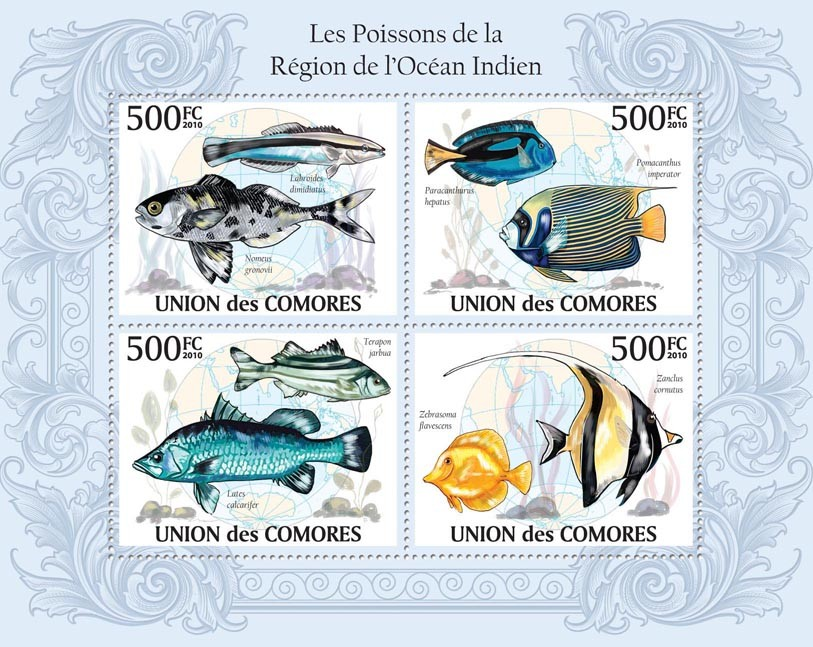Fishes in Region of Indian Ocean, Nomeus gronovii, Paracanthurus hepatus, etc. - Issue of Comoros postage stamps
