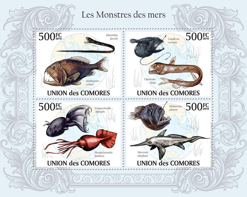 The Monsters of the Seas,  Anoplogaster cornuta, Vampyroteuthis infernalis, etc. - Issue of Comoros postage stamps