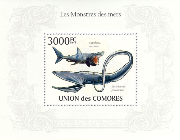 The Monsters of the Seas, Cetorhinus maximus, Eurypharnyx palecanoides. - Issue of Comoros postage stamps