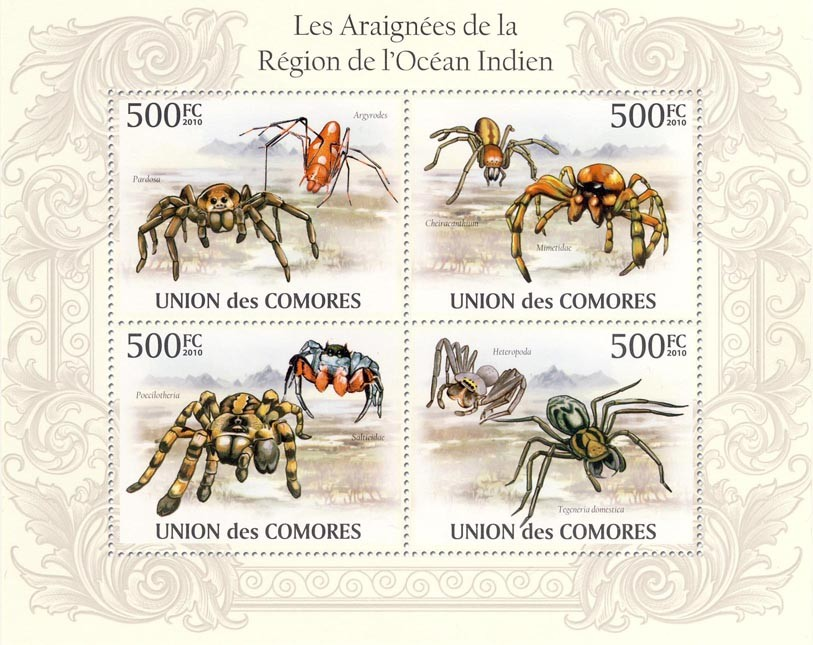 Spiders in Region of Indian Ocean, Pardosa, Mimetidae, Heteropoda, etc. - Issue of Comoros postage stamps