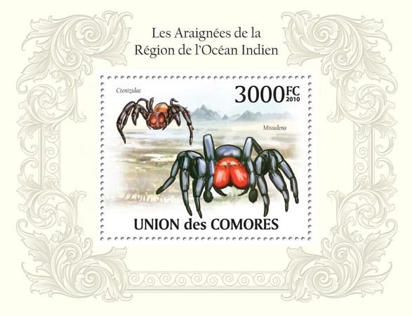 Spiders in Region of Indian Ocean, Ctenizidae, Missulena. - Issue of Comoros postage stamps