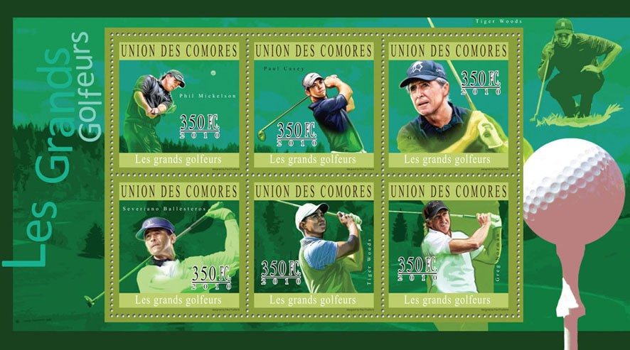 The Great Golfers, ( P.Mickelson...G.Norman ) - Issue of Comoros postage stamps