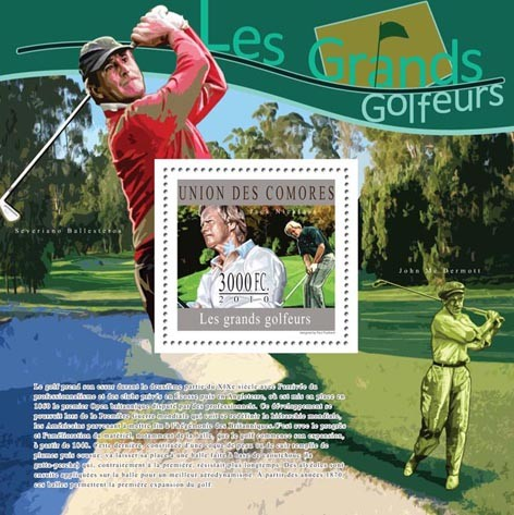 The Great Golfers, ( Jack Nicklaus ). - Issue of Comoros postage stamps