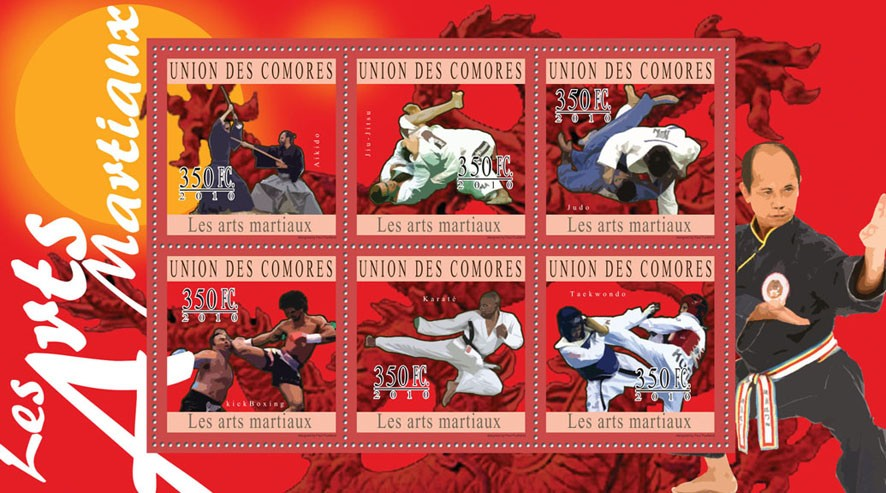 Martial Arts, ( Aikido...Taekwondo ). - Issue of Comoros postage stamps