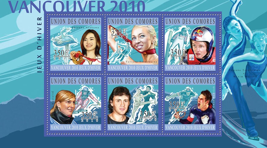Winners of Vancouver 2010, ( S.Arakawa...C.Hedrick ). - Issue of Comoros postage stamps