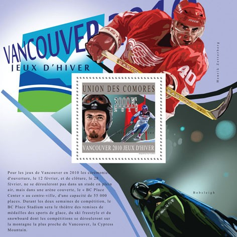 Winners of Vancouver 2010, ( Antonio Deneriaz ). - Issue of Comoros postage stamps