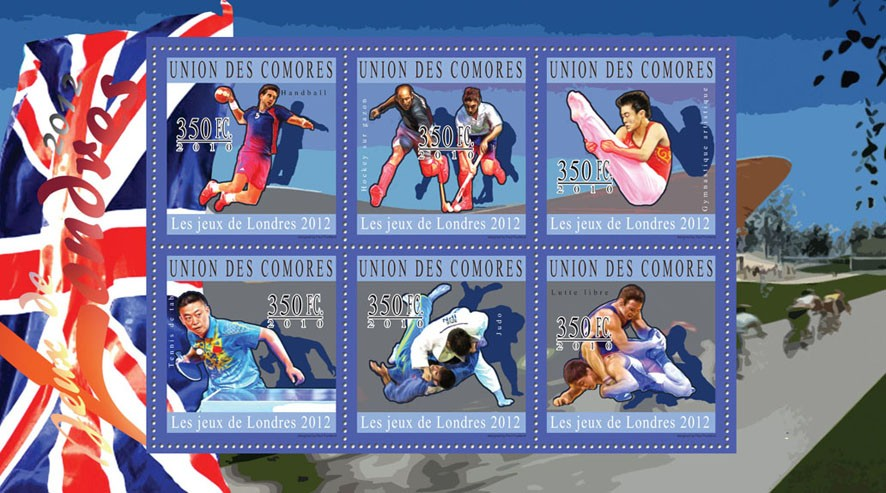 London 2012 Olympic Games, ( Handball...Lutte libre ). - Issue of Comoros postage stamps
