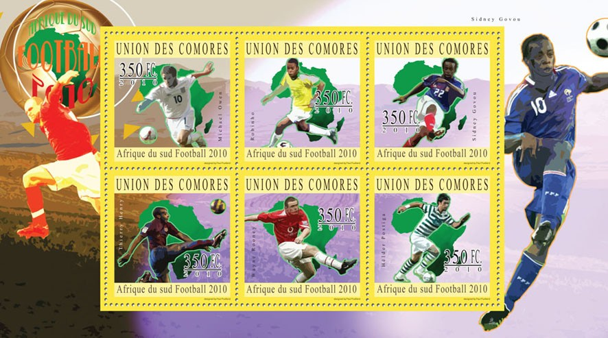 South Africa 2010  Football, ( M.Owen...H.Postiga ). - Issue of Comoros postage stamps