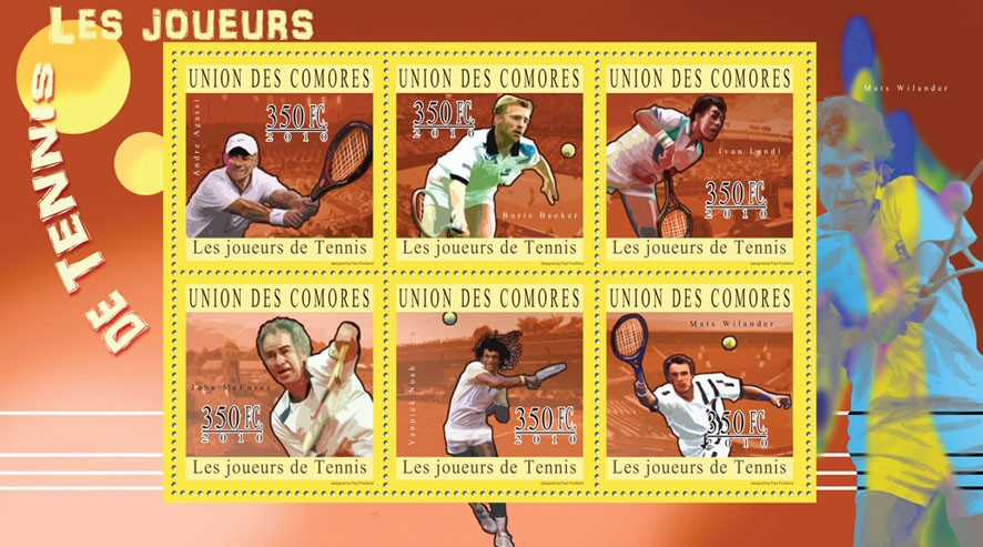 Lawn Tennis, (Andre Agassi...Mats Wilander). - Issue of Comoros postage stamps