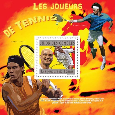 Lawn Tennis, (Andre Agassi). - Issue of Comoros postage stamps