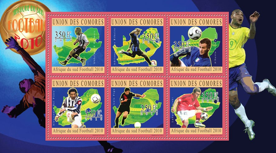 South Africa 2010  Football, ( A.Oulmers...L.Podolski ). - Issue of Comoros postage stamps