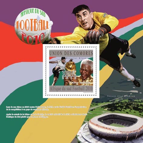 South Africa 2010  Football, ( Miroslav  Klose ). - Issue of Comoros postage stamps