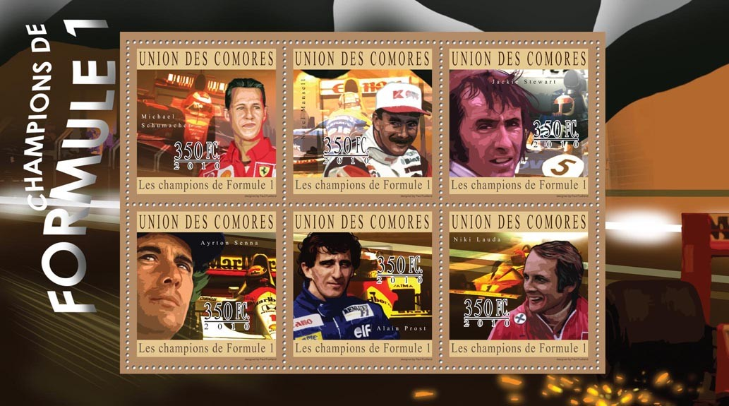 Formula 1 Champions, (M.Schumacher ... N.Lauda). - Issue of Comoros postage stamps