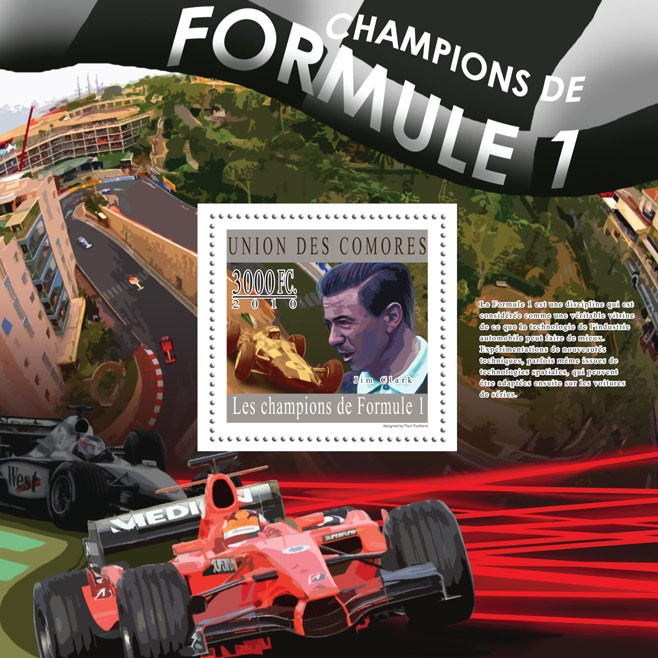 Formula 1 Champions, (Jim Clark). - Issue of Comoros postage stamps