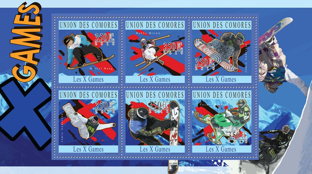 X Games, (Mikkel Bang ?タᆭ Tucker Hibbert) - Issue of Comoros postage stamps
