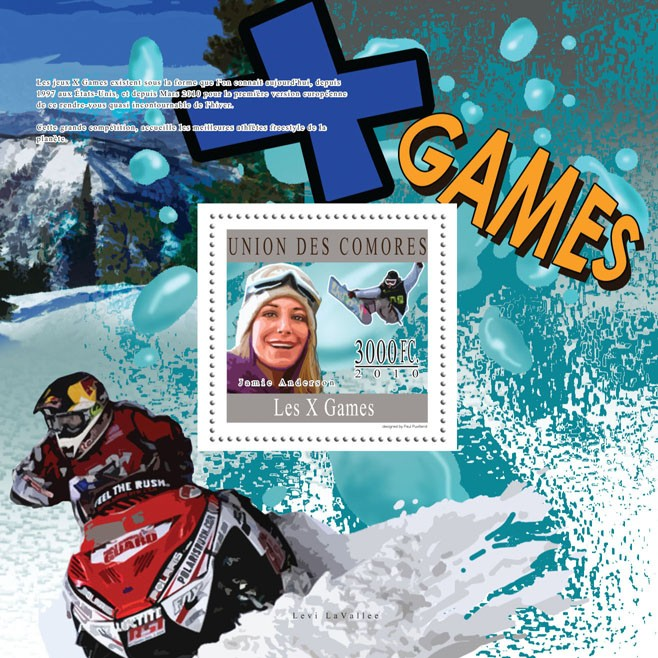 X Games, ( Jamie Anderson ). - Issue of Comoros postage stamps