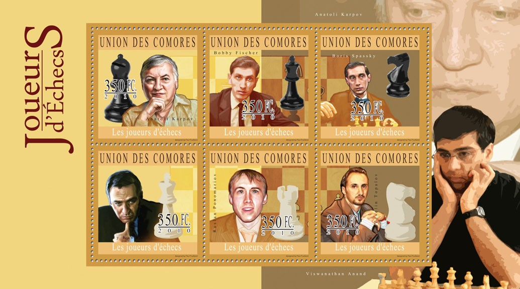 Chess Players, (Anatoli Karpov ... Veselin Topalov). - Issue of Comoros postage stamps