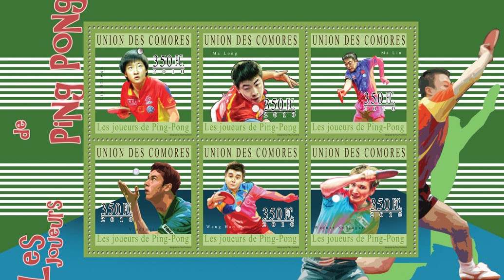 Table Tennis, (Lin Shiwen ... Werner Schlager). - Issue of Comoros postage stamps