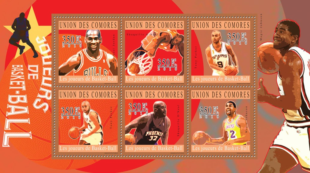 Basketball, (Michael Jordan ... Magic Johnson). - Issue of Comoros postage stamps