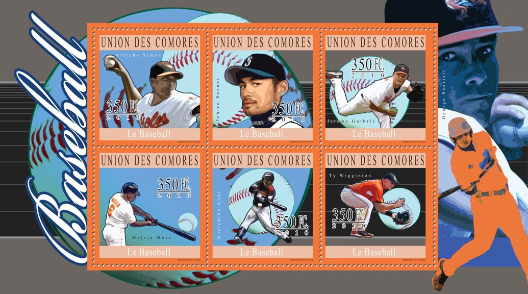 Baseball, (Alfredo Simon ... Ty Wigginton). - Issue of Comoros postage stamps