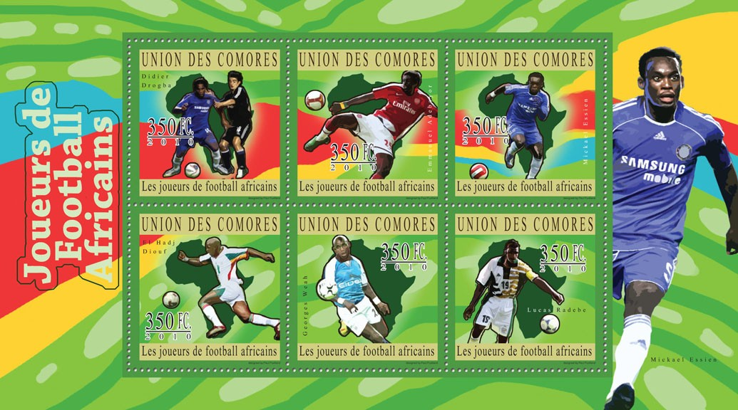 African Football Players,  (Didier Drogba ... Lucas Radebe). - Issue of Comoros postage stamps