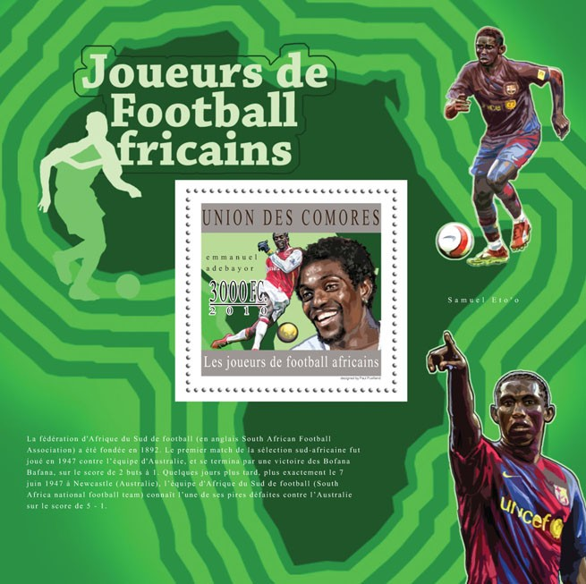 African Football Players, (Emmanuel Adebayor). - Issue of Comoros postage stamps