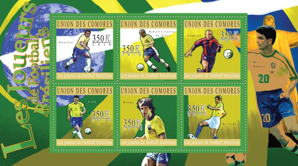 Brazilian Football Players, (Romario ... Rivaldo). - Issue of Comoros postage stamps